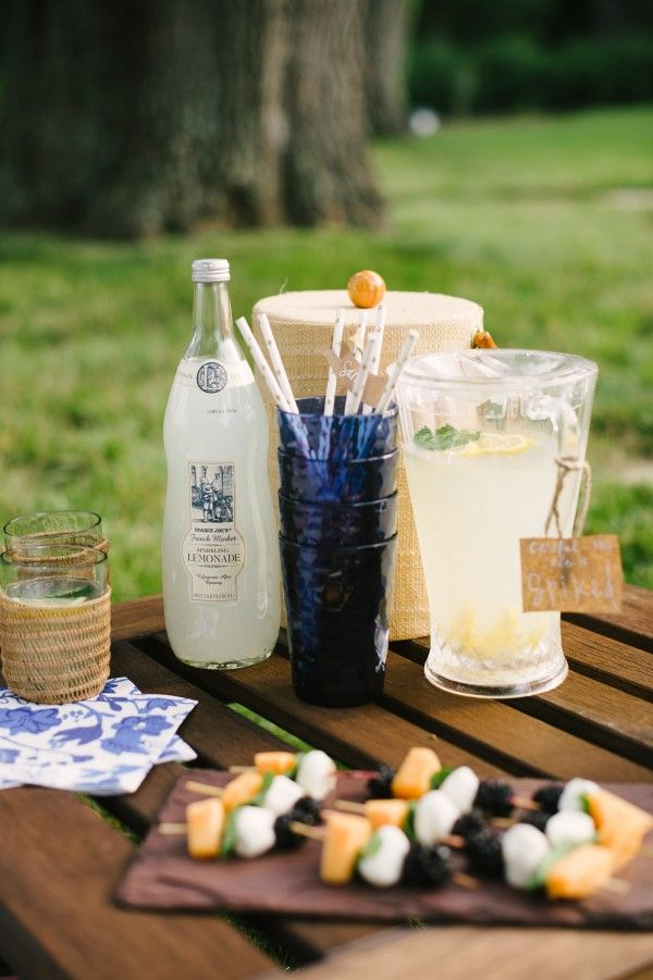 Lemonade is the quintessential picnic drink. Offer your friends both a regular and a spiked version!