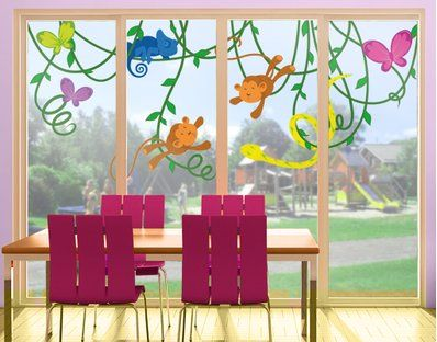 Little monkeys on the window as sticker preschool
