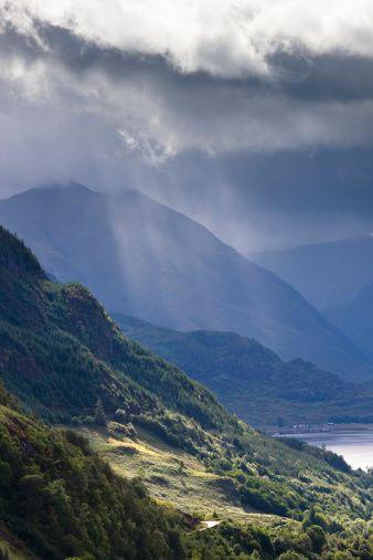 ڰۣ✿ Carr Brae towards head of Loch Duich and Five Sisters of Kintail with sunlight bursting through sky, Highlands, Scotland.