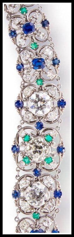 Diamond, sapphire and emerald bracelet by Louis Comfort Tiffany.