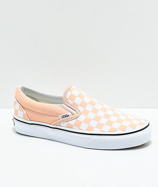 eea39326548670 Vans Slip-On Bleached Apricot   White Checkerboard Skate Shoes in ...
