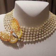 Van Cleef and Arpels yellow sapphire and diamond butterfly necklace