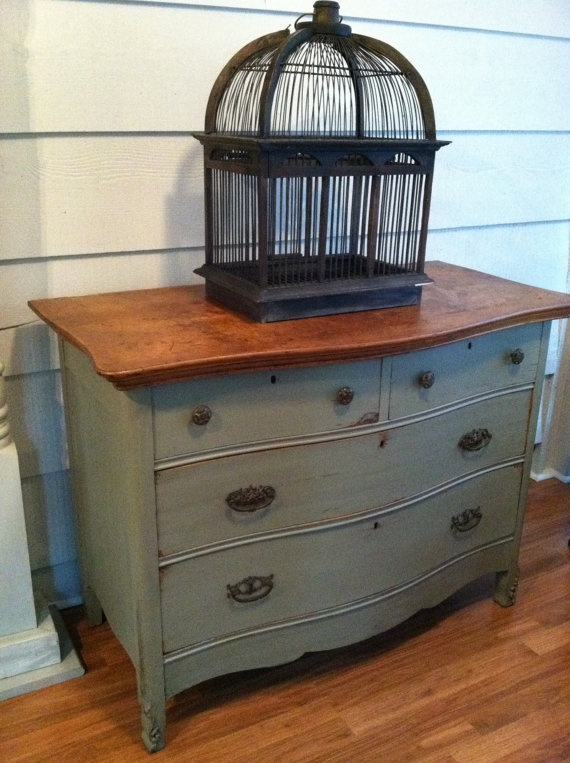 Buffet or Sideboard - Dresser, Gray-Green, Stained, Antique, Vintage, Painted Furniture. $479.00, via Etsy.