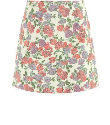 Brown Rose Tapestry A-Line Mini Skirt