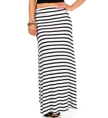 White/Black Striped Maxi Skirt