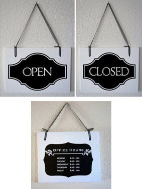 """Shabby chic sign Open close - Business handing sings Hour Sign set. 2 signs 11""""x9"""" Store boutique Retail shop Storefront"""