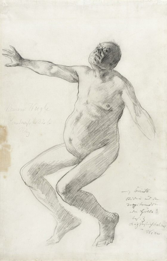 Lovis Corinth (Germany, 1858-1925) Germany, circa 1894 Study of a Nude Man Falling Backwards | LACMA Collections