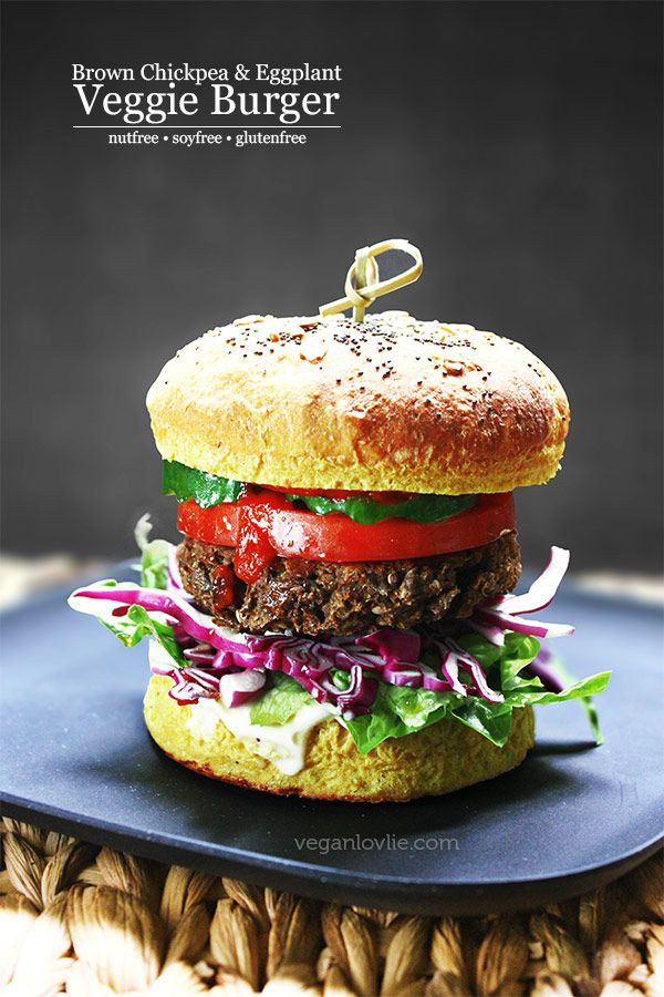 Brown Chickpea and Eggplant Veggie Burger Recipe