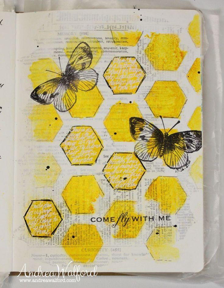 """Come Fly With Me"" Art Journal page. You can watch a video tutorial on how I created this page from start to finish at: http://andreawalforddesigns.com/art-journal-express-3-video-tutorial-come-fly-art-journal-page/"