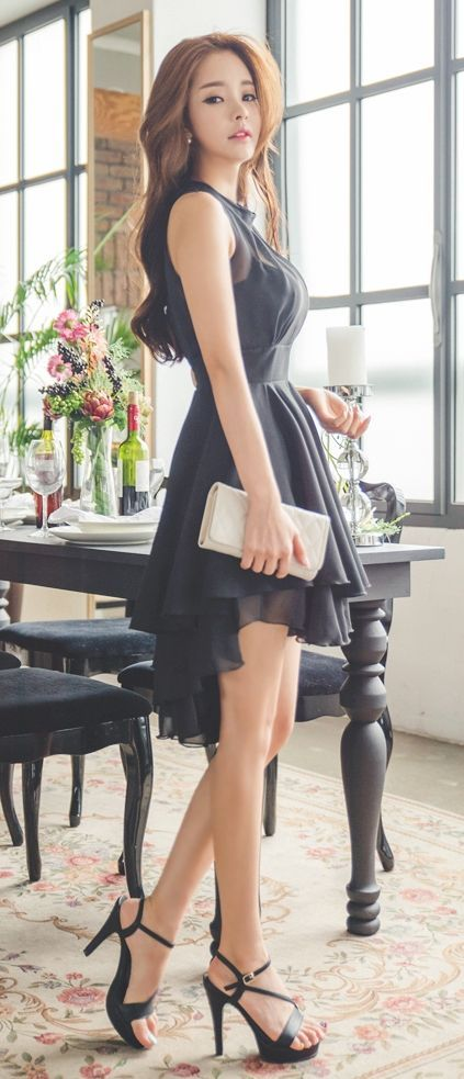 Luxe Asian Women Design Korean Model Fashion Style Dress: