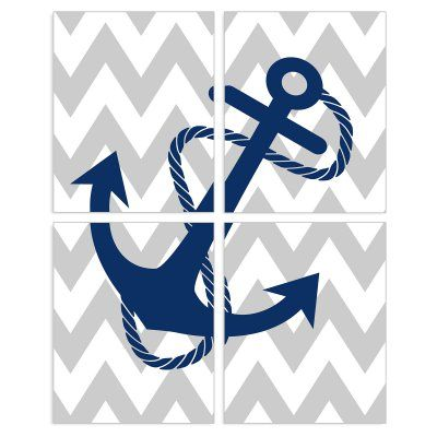 Stupell Decor Blue Anchor Wall Plaque - Set of 4 - BRP-1623_WD_4PC_8X10, Durable