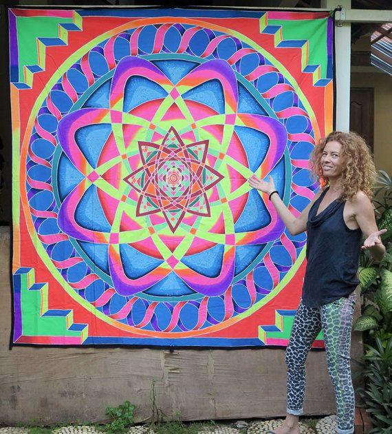 UV Banner Infinity Curves Wandbehang 2m x 2m Hippie Goa Tuch Kunst Psy Trance DJ