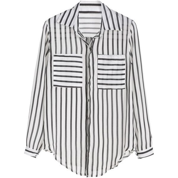 Black And White Vertical Striped Curved Hem Pocket Blouse (21 BAM) ❤ liked on Polyvore featuring tops, blouses, black and white, embellished collar blouse, long sleeve blouse, black and white stripe blouse, chiffon tops and striped blouse