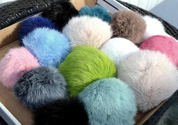 4-5 RABBIT FUR POM Poms Genuine Fur Pom Pom Real Fur