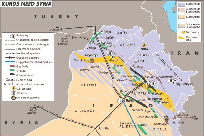 A map labeled KURDS NEED SYRIA Map of Iraq that shows oil and – Map of Iraqi Oil Fields