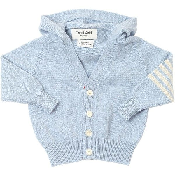 Thom Browne Kids-boys Hooded Knitted Cashmere Cardigan (5.900 NOK) ❤ liked on Polyvore featuring light blue