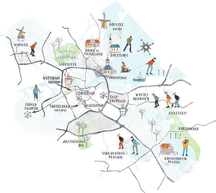 illustrated winter map with tehe best ice skating spots in and around Amsterdam - Kim welling for Uitkrant Amsterdam - 2015