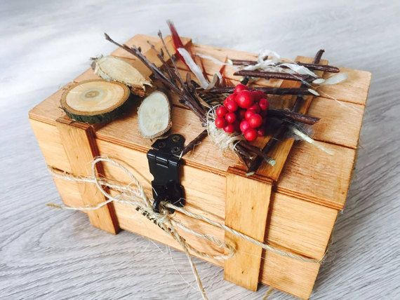 wooden natural suitcase jewelry box unique gift  by VictoriaArtPL