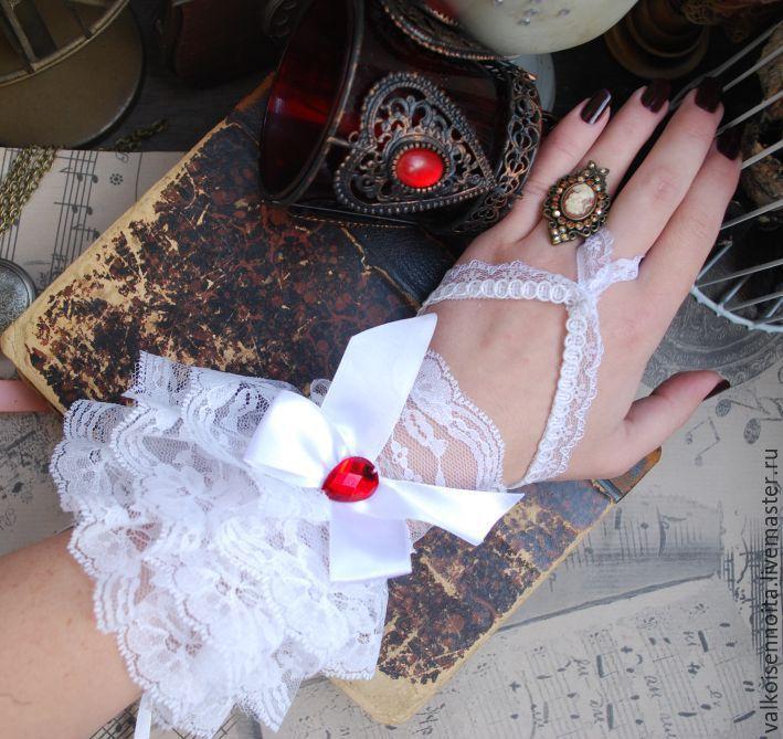 Купить Белоснежные кружевные перчатки - перчатки, кружевные перчатки, белые перчатки, перчатки без пальцев