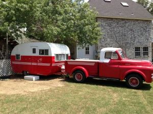 Matching Pair in White over Red...very nice vintage set.
