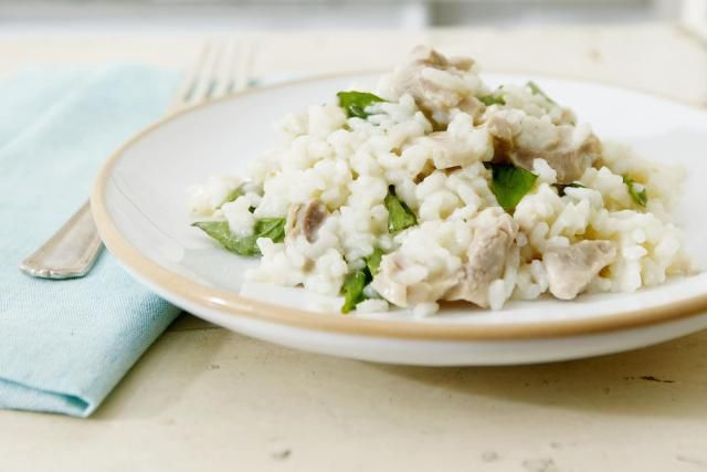 Chicken Risotto is a rich and delicious recipe with an unconventional method that uses long grain white rice instead of arborio, chicken broth, and chicken breasts.