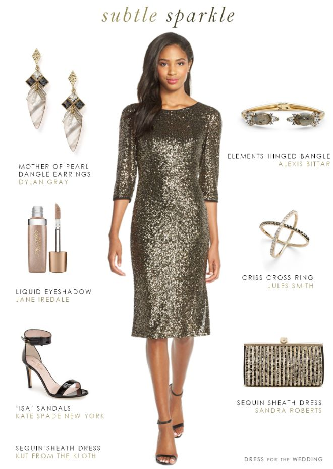 Long Sleeve Sequin Cocktail Dress | Wedding Guest Dresses ...