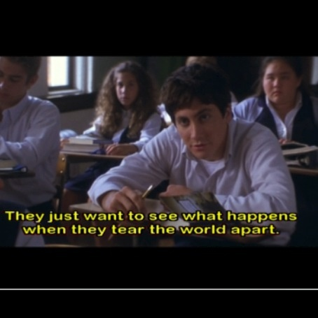"Donnie Darko scene where Donnie explains Graham Greene's story ""The Destructors. "" I think in some ways everyone does this."