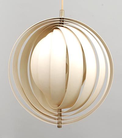 Ceilinglamp Moon no remake white enamelled metal with porcelain lampholder design Verner Panton 1926-1998 1960 executed by Louis Poulsen / Denmark