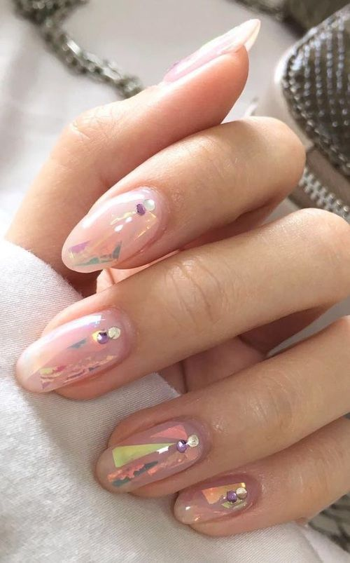 beautiful, glam, nails art, hologram, acrylic, lovely, gems, nails polish