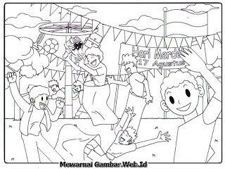 Gambar Mewarnai Hari Kemerdekaan Indonesia Lomba Panjat Pinang