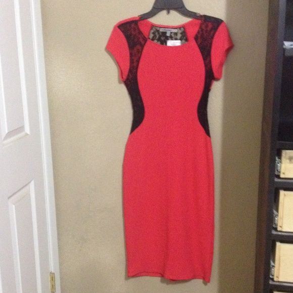 Brand new salmon dress Beautiful dress , salmon color with black lace on sides and back. Still new with tag. Dresses