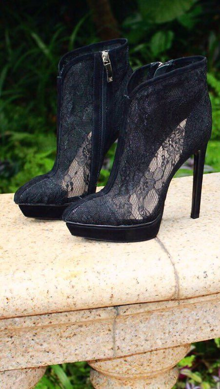 Show off your style with these sexy lace boots. This designer work of art features a 5 inch heel along with a platform for added comfort as well as an unforgettable lace upper for women who aren't afr