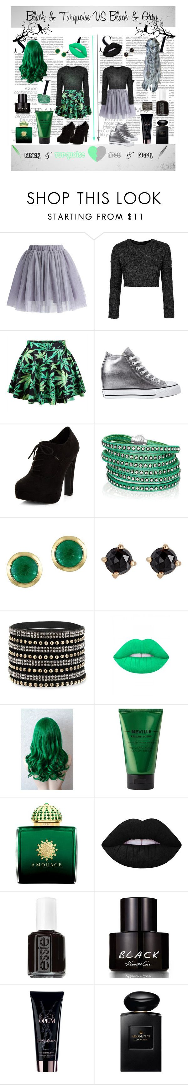 """""""Black & turquoise VS grey & black"""" by ana-petrasuc on Polyvore featuring Chicwish, Topshop, Converse, New Look, Sif Jakobs Jewellery, Effy Jewelry, Irene Neuwirth, Lime Crime, Neville and AMOUAGE"""