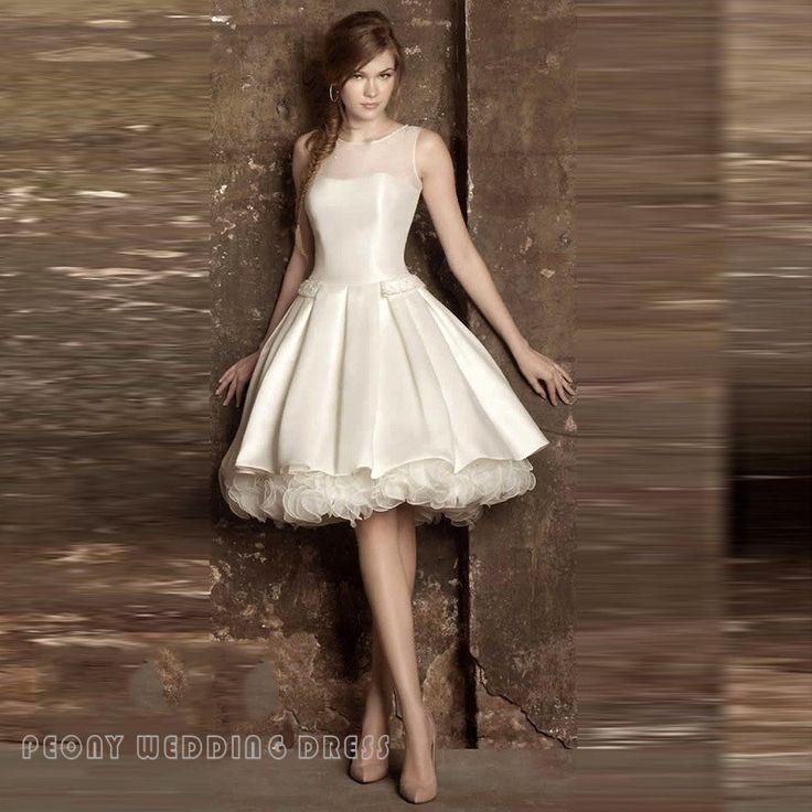 Find A Elegant Short Ivory Wedding Dresses Tiered Ruffled Pearls Knee Length Wedding Dress Satin Bridal Dresses Cheap Wedding Gown Online Shop For U !