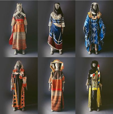 Hijab Style: April 2008 - The Mansoojat Foundation is a UK registered charity founded by a group of Saudi women with a passionate interest in the traditional ethnic textiles and costumes of Arabia. Here are some examples, visit the website to see more, and to learn about the styles of the different tribes. You can also purchase various items decorated with traditional patterns here.