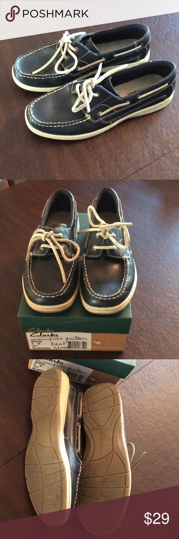 Clarks Ladies Boat Shoes, EUC, size 6m Adorable and comfortable Women's Clarks Deck Shoe in Navy. Perfect for summer with shorts or capris! Worn only a few times they are in great condition. Off-white laces and soles.  Have been kept in the box and will ship in the box. Make me an offer and grab these before they are gone! Clarks Shoes Sandals
