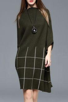 Grid Batwing Sleeve Wool Dress