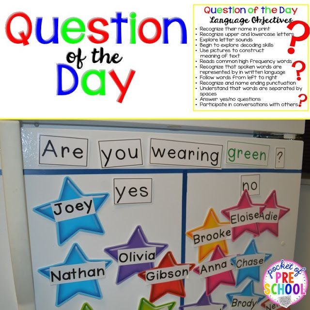 Question of the Day in a preschool classroom: tips, ticks, and what students are learning. Pocket of Preschool
