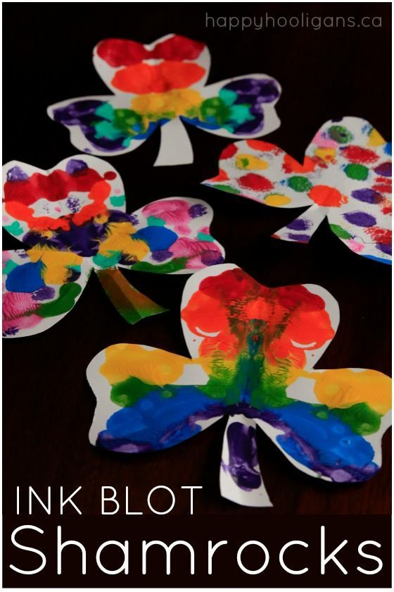 Quick and Easy Rainbow Ink Blot Shamrock Craft for Kids for St. Patrick's Day - Happy Hooligans