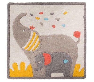 Grått / gult gulvteppe med elefanter