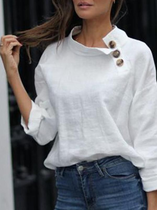 Solid Color Loose Casual Blouse – #blouse #dress #fashion #streetstyle #fashio…