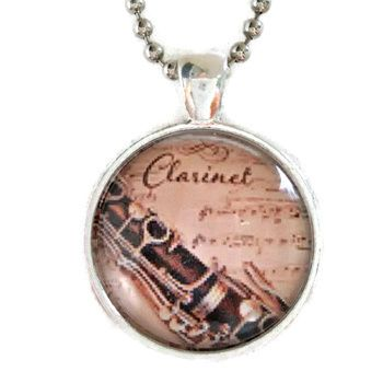 Atkinson Creations Clarinet and Vintage Sheet Music on a Glass Dome Pendant Necklace