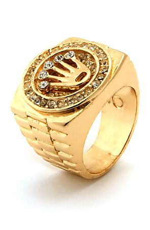 Mens Gold Crown CZ Hip Hop Ring  Accessories  Pinterest