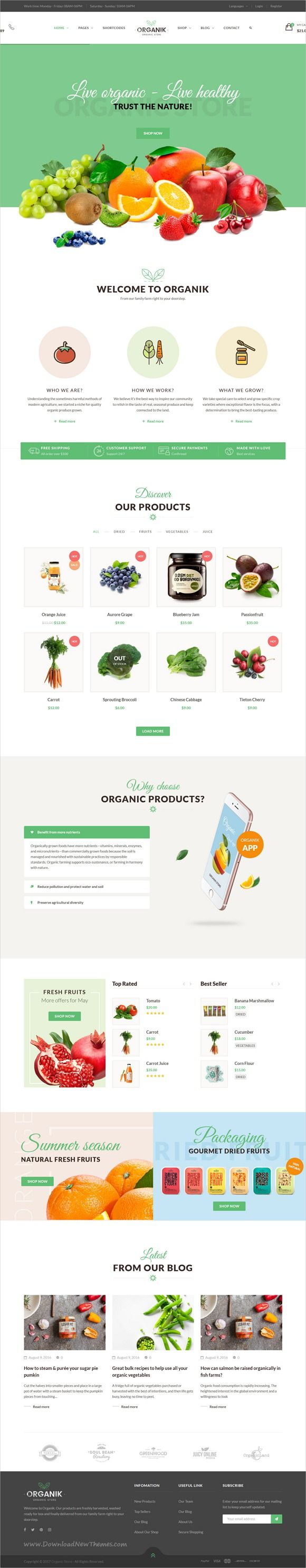 Organik is clean and modern design 6in1 responsive #bootstrap template for #organic store, farm and bakery #eCommerce website download now..