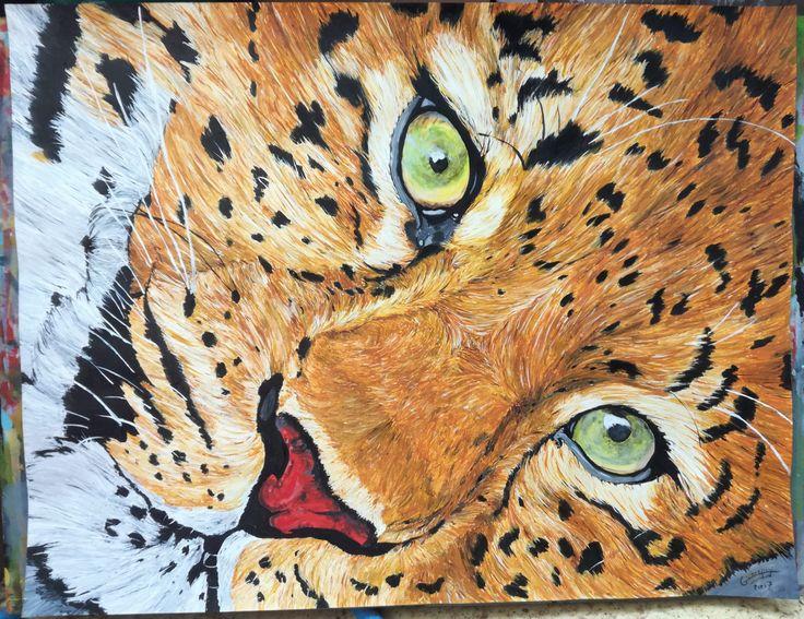 Dessin Peinture acrylique animalière animal sauvage, Leopard format 50x65 cm de la boutique vanspeygalleryart sur Etsy