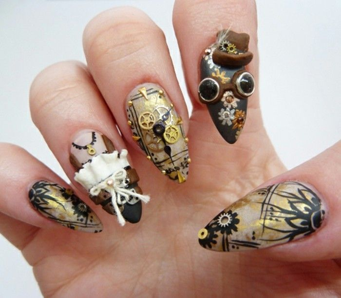 sharp nails with steampunk details, tiny gears and googles, top hat and lace details, in black and gold tones