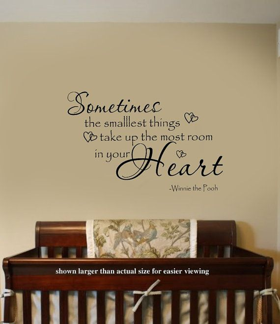 Sometimes The Smallest Things Winnie The Pooh Quote Nursery VInyl Wall  Lettering Decal LARGE 36Wx22H