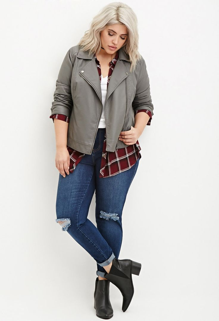Plus Size Faux Leather Moto Jacket | Forever 21 PLUS - 2000180698