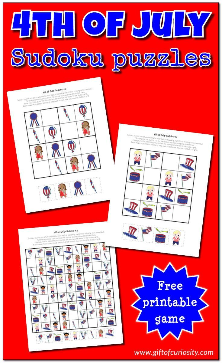 4th Of July Sudoku Free 4th Of July Printables 4th Of July Kids Critical Thinking Sudoku Free [ 1200 x 735 Pixel ]