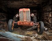 Old Tractor, Farm Machinary, Rustic, Industrial Art Photography, Original Signed Color Print, Wall Decor, Industrial, Free Shipping